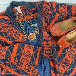 Tulle (Anthro) Boho Orange & Denim Blue Azteck Open Front Cardigan Medium